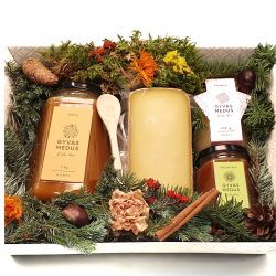 Christmas honey gift box with matured cheese
